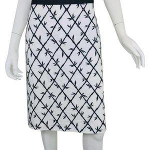 Talbots Black & White Textured Bamboo Pencil Skirt